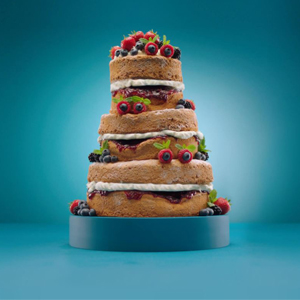 Three tier cake with fruit