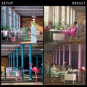Setup and result Office scene
